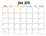 Colorful Modern Calendar for June 2013--Publisher Doc