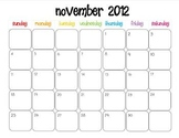 Colorful Modern Calendar for November 2012--Publisher Doc