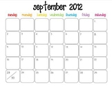 Colorful Modern Calendar for September 2012--Publisher Doc