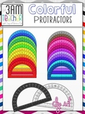 Colorful Protractors Clip Art Collection