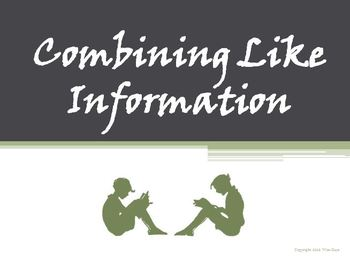 Combining Like Information Reading Strategy PowerPoint