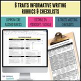 Common Core Aligned 6 Traits Explanatory Writing Rubrics f