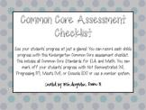 Common Core Assessment Checklist for Kindergarten