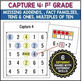 Common Core: Capture 4 1st Grade Math Strategy Games