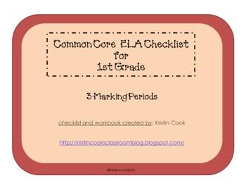 Common Core ELA Checklist for 1st Grade – 3 Marking Periods!