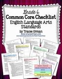 Common Core ELA Standards Checklists Grade 6