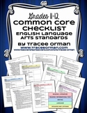 Common Core ELA Standards Checklists Grades 11-12