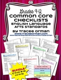 Common Core ELA Standards Checklists High School Grades 9-12