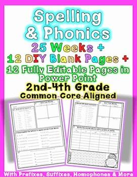Editable Common Core Foundational Skills Word Work: Phonics & Spelling Homework
