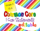 Common Core I Can Statements ELA Grade 4 Primary Colors