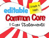 Common Core I Can Statements Mathematics Grade 4