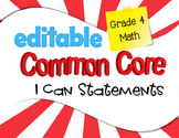 Common Core I Can Statements Mathematics Grade 4