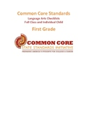 Common Core Language Arts Standards Chart - First Grade PDF