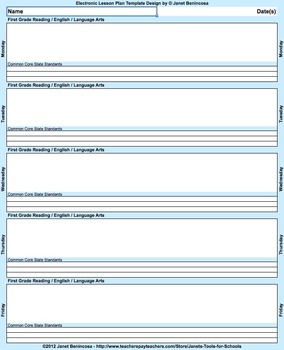 Common Core Lesson Plan Template 5th-Math with 3 drop-down