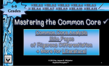 Common Core Literature Analysis Cards 6th, 7th, 8th Middle School