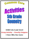 Common Core Math 5th Grade Geometry Activities 5.G.3,4 wit