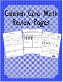 Common Core Math Review Pages