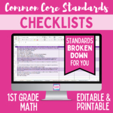 Common Core Math Standards Editable Checklist- First Grade