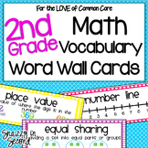 Common Core Math Vocabulary Cards for 2nd Grade