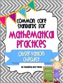 Common Core Mathematical Practices - Observation Checklist