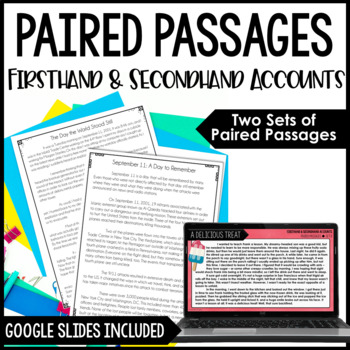 Common Core Paired Passages {Firsthand and Secondhand Accounts}
