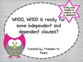 {Common Core} Sorting Independent & Dependent Clauses, assessment