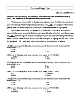 Common Core Standards-Based Pronoun Quiz for 6.1.a and 6.1.d
