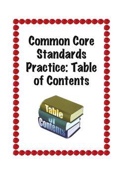 Common Core Standard RI.1.5: Table of Contents