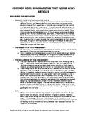 Common Core: Summarizing Informational Texts using News Ar