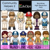 Community Helpers 2 Clip Art BLACKLINES