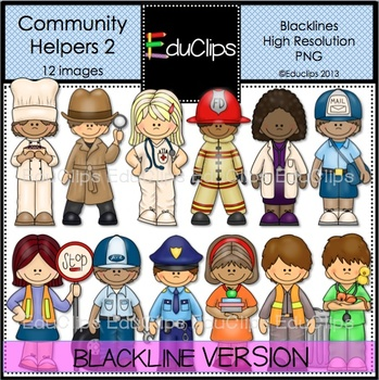 Community Helpers 2 Clip Art BLACKLINES