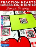 Comparing Fractions Heart-Themed QR Code Math Center FREEBIE