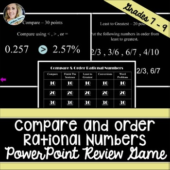 Comparing and Ordering Rational Numbers PowerPoint Review Game