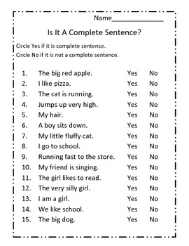 Complete Sentences - Lessons - Tes Teach