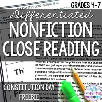 Constitution Day - Close Reading Freebie