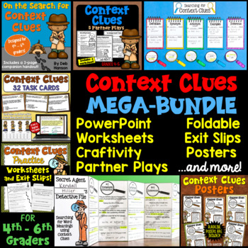 Context Clues MEGA-BUNDLE (Craftivity, PowerPoint, Task Cards, Foldable, more!)