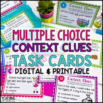 Multiple Choice Context Clues Task Cards