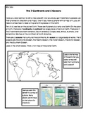 Continents and Oceans Reading Response SOL 3.5a