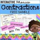 Contraction FREEBIE: Poster, Sample Sorts & Worksheets