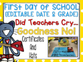 Cool Cat First Day of School Certificates and Hat {Kinderg