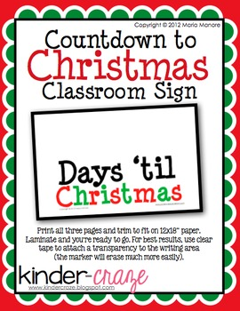 Countdown to Christmas Classroom Sign