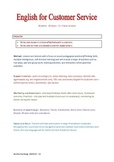 Course OUTLINE - English for Customer Service