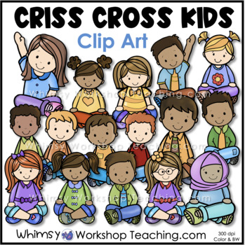 Criss Cross Kids Clip Art - Whimsy Workshop Teaching
