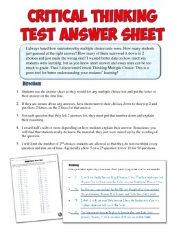 Critical Thinking Multiple Choice Assessment Answer Sheet