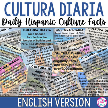 Cultura Diaria - Daily Hispanic Culture Facts for Each Day of Spanish Class