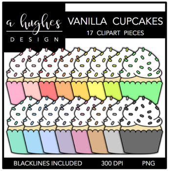 Cupcakes: Pastel Vanilla {Graphics for Commercial Use}
