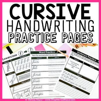 Cursive Handwriting Practice Pages - A Cursive Unit - {138 Pages!}
