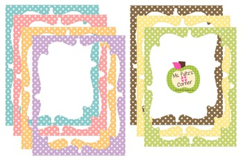 Digital Curvy Frames: Pastel Dots