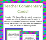Customizable Teacher Commentary Cards