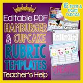 Hamburger & Cupcake Rubric Editable PDF Template